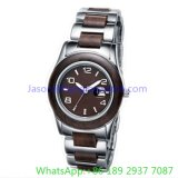 Het Roestvrij staal van de hoogste-kwaliteit en Houten Horloge Quoartz voor de Mens Ja- 15055