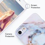 Pressão magro do ajuste do teste padrão de mármore branco no caso duro da parte traseira do escudo para o iPhone 7