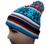 Chapeau neuf de Beanie de configuration de jacquard de l'hiver de la mode 2016 avec le Pompom (KH15)