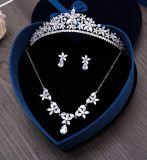 Cristal plateado de plata magnífico del Zirconia de la novia de la corona cúbica de la tiara