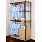 Мебель штанги спальни самомоднейшая двойная Стал-Деревянная устроителя одежды и шкафа шкафа
