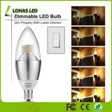 UL del CE E12 E14 E27 3W 5W 6W 7W 9W luz fría del bulbo del blanco SMD regulable LED vela caliente