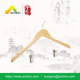 Gancho de roupa de bambu com clipes