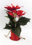 Poinsettia de la decoración de Navidad en bolso del lino