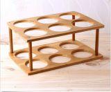 Étalage en bois de boisson alcoolisée de décor de cave d'étagère du vin 6 de bouteille de support en bambou de stockage en rayons