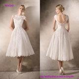 Empfindliche Spitze und Tulle-kurzes Hochzeits-Kleid mit Guipurespitzeund EdelsteinAppliques