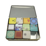 Set Tea Tin Box Atacado Custom Ptinting Square Shape Tea Tin Container