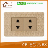 Socket de pared eléctrico casero de 6 Pin con color de oro del mosaico