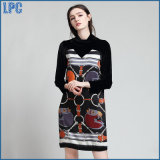 Coutures noires en cire Impression Folk Style Long Sleeved Ladies Dress