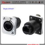 Cnlinko IP65 verdoppeln Ethernet-Verbinder-Metallweibliche Geschlechts-Panel-Montierungs-Kontaktbuchse mit Schutzabdeckung