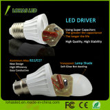 E27 B22 110-240V 3W-15W는 찬 백색 플라스틱 LED 전구를 데운다