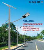 30W LEDのプログラム可能な軽いモードの太陽街灯