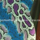 뱀 지상 이중 면 PU 신발 가죽 (QDL-SP031)