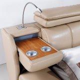 침실 사용 (FB3073)를 위한 담황색 베이지색 색깔 가죽 연약한 침대