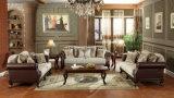 O sofá Home tradicional do sofá clássico da tela ajustou-se com base de madeira para a sala de visitas