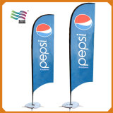 Bandeira de praia de anúncio feita sob encomenda com logotipo do projeto