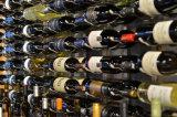 El vino de la pared atormenta el estante del vino del metal, colgando el estante montado en la pared del vino del bronce del estante del vino