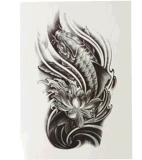 autoadesivo provvisorio impermeabile del tatuaggio del loto della carpa di modo 3D