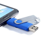 Movimentação feita sob encomenda do flash do USB do giro do logotipo OTG 256GB para o presente