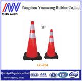 cono del tráfico del PVC de la seguridad en carretera de 700m m con la base negra