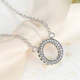 925 Sterlingsilber-Innere der Marken-Raum-runde Form CZ-hängenden Halsketten für Frauen-Partei-Schmucksachen