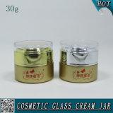 30mlによって曇らされる装飾的なガラス瓶の空の表面クリームガラスの瓶
