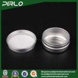 vaso di alluminio di colore naturale d'argento 15g con i vasi vuoti della crema del balsamo di orlo di figura piana del coperchio a vite