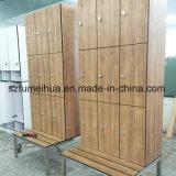 ポルトガル木HPL着席のベンチが付いている積層の体操/フィットネス・センターの貯蔵用ロッカー