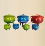 #10、#14、#18の3本の足を搭載する#20鋳鉄のPotjieの鍋