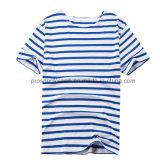 T-shirt à rayures en tricot pliant T-shirt à rayures bleues et blanches