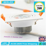 3W自然な白い四角のアルミニウム高い発電LEDの天井ランプDimmable LED Downlight