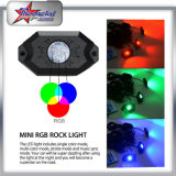 8 Pods 2inch Mini 9W RGB LED Rock Light Controle Remoto IP68 Under Car Bluetooth LED Rock Light