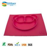 O silicone de uma peça só de Reuseable da placa de Placemat do silicone caçoa a esteira da refeição para a placa de jantar do bebê