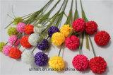 3つの球の祝祭の装飾のための人工的な赤いアジサイの花