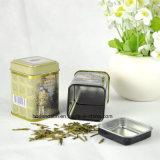 Doos van het Tin van de Thee van het Metaal van de douane de Kleine Vierkante met de Verschillende Ontwerpen van het Aroma