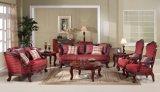 標準的なファブリックソファーの骨董品愛シートの椅子ホーム家具のための木フレームが付いている古典的なアーム椅子
