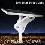 2016 configuration neuve 80W Bridgelux DEL toute dans un réverbère solaire