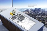 Acier inoxydable One Piece Formant Double Bowl Sink
