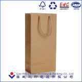 Bolsa de papel barata impresa aduana de Brown Kraft de la insignia, bolso de papel del regalo con la maneta