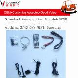 4CH 720p 3G, 4G, GPS, Funktion Wi-FI für wahlweise freigestelltes mobiles Auto DVR