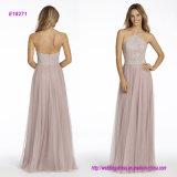 Rosen-englisches Netz A - Zeile Brautjunfer-Kleid mit Kaviar-Mieder, hohem Stutzenhalter-Ausschnitt und Kreisfußleiste