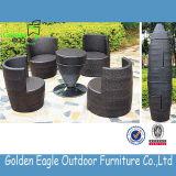 PET Rattan-Garten-Möbel-Aluminiumspeisetisch und Stuhl