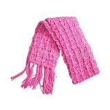 女の子のかなり紫色の編まれたスカーフ(JRI021)