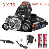 3PCS diodo emissor de luz Rechargeable Headlamp do CREE T6