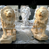Leone animale Ma-223 dell'oro del deserto della statua del granito di pietra di marmo