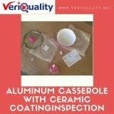 Cazuela de aluminio rosada con servicio del control de calidad y del examen de la capa de cerámica