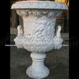 Piantatrice bianca MP-157 di Carrara della piantatrice di pietra di marmo del granito