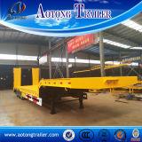 De Semi Aanhangwagen van triLowbed van de As, 50 Ton van de Lage Flatbed Aanhangwagen