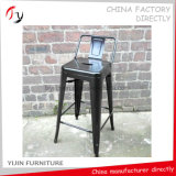 Hölzerner Panel-Sitz hoch mit rückseitigem Rest-Eisen-Farben-Metallstab-Stuhl (TP-44)