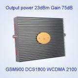 Репитер сигнала сотового телефона полосы Dcs 1800 WCDMA 2100MHz силы 23dBm GSM900 выхода Tri